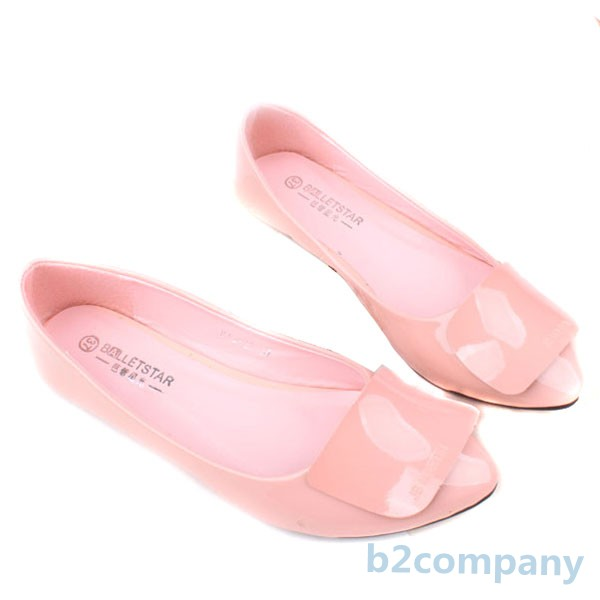 Womens-Pointed-Toe-Shinny-Faux-Leather-Ballerina-Ballet-Flats-Low-Heel-Shoes